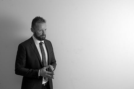 portrait, man, beard, suit, black and white, one man only, only men