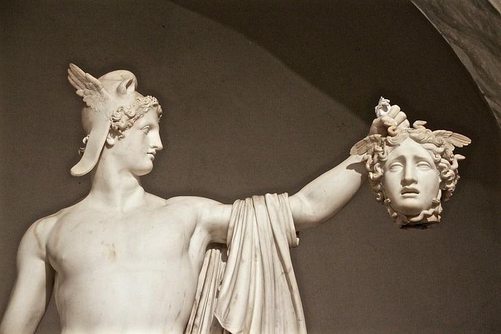 medusa, perseus, head, vatican, statue, sculpture, antonio canova