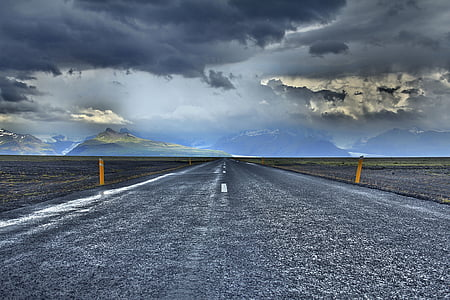 drogi, podróży, przygoda, chmury, niebo, góry, Natura