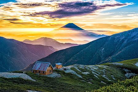 Mt fuji, Asahi, 小河内岳避難小屋, alps del Sud, llum, Japó, muntanya