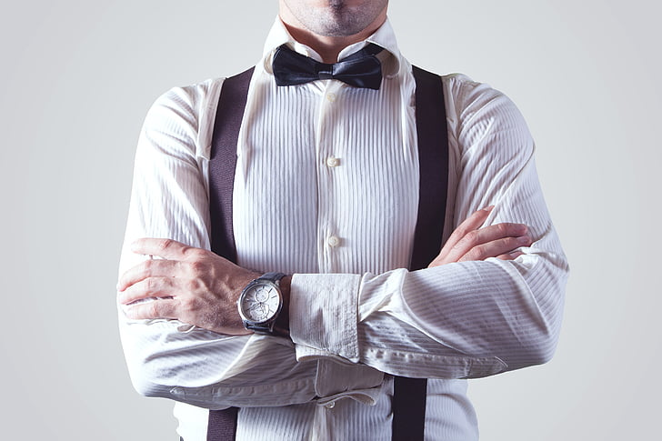 man, person, shirt, bow tie, suspender, appareal, braces