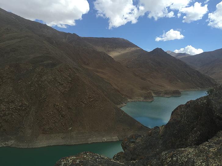 tibet, the scenery, snow mountain, mountain, nature, lake, landscape