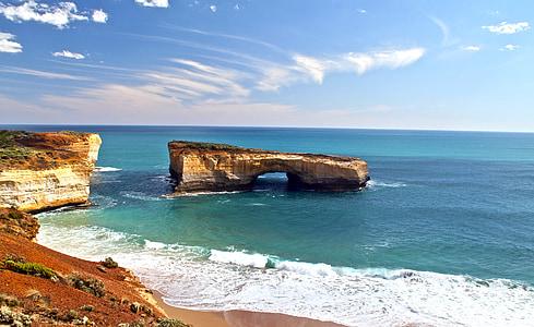 pont de Londres, Australie, Rock, eau, falaises, Surf, bleu