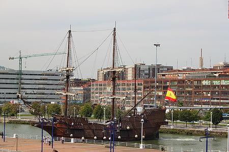 san sebastian, Spanyolország, város, hajó, sétány, Port