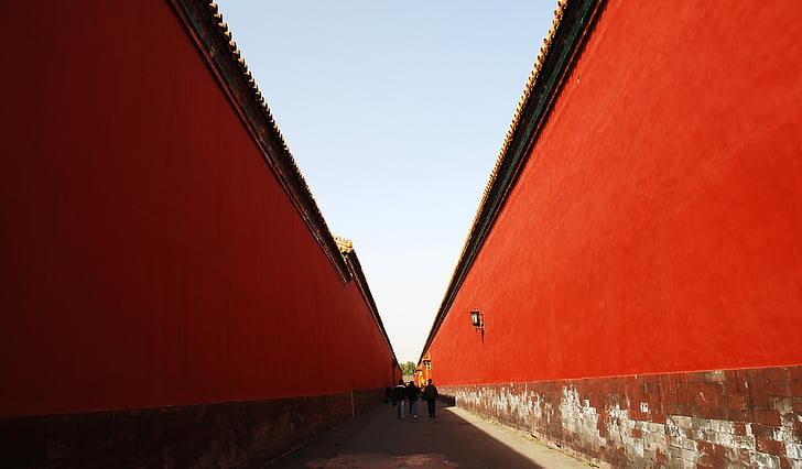 beijing, building, the national palace museum, red wall, red, architecture, street