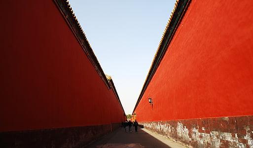 Pequín, edifici, Museu del Palau Nacional, paret vermella, vermell, arquitectura, carrer