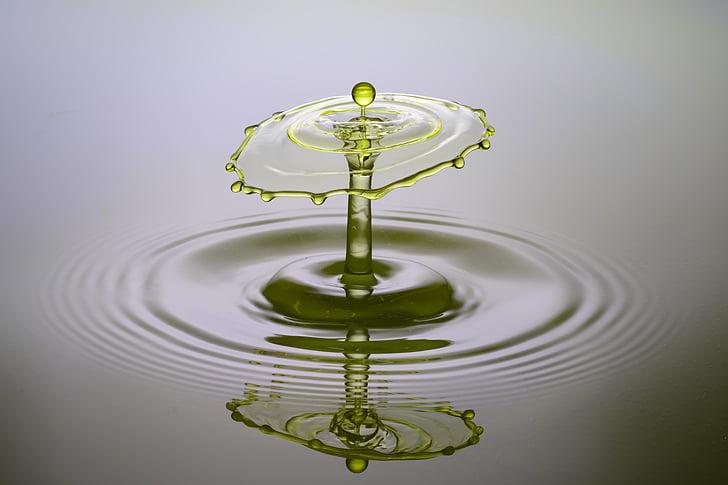 csepegtető, spray, víz, folyadék, sárga, nagy sebességű, csepp víz