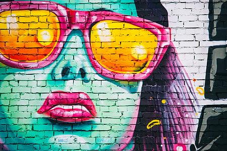 Zdjęcie, Kobieta, noszenie, różowy, Okulary przeciwsłoneczne, malowane, Cegła