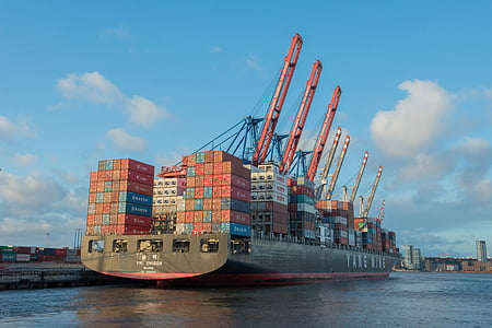frachtschiff, fraktfartyg, Hamburg, fartyg, Tyskland, behållare, hamnstad