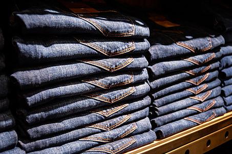 牛仔裤, 裤子, 蓝色, 商店, 购物, 书架, 展览