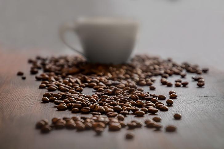 cafè, tassa de cafè, Copa, cafeteria, cafeïna, beguda, grans de cafè