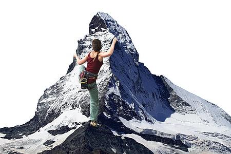 climber, photo montage, climb, climbing sport, sport, matterhorn, alpinism