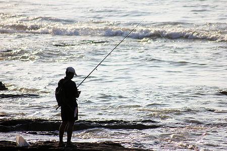 fisherman, fishing, waves, sea, ocean, water, silhouette