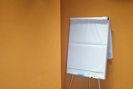 sheet, paper, flip chart, chart, presentation, yellow, white