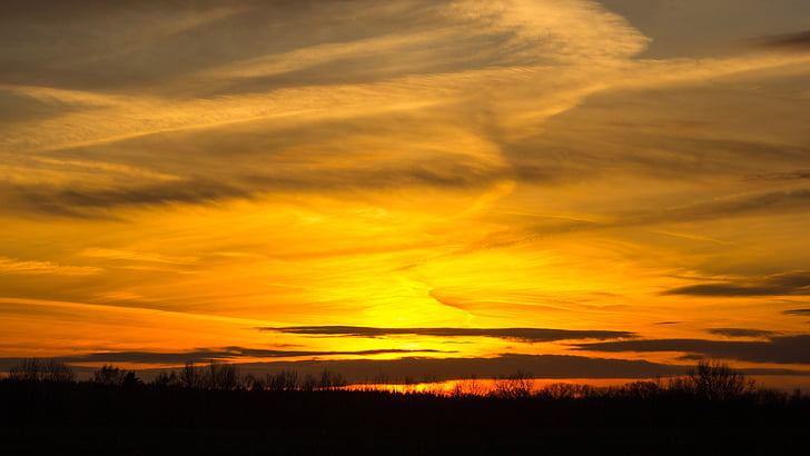 solnedgång, Sky, abendstimmung, landskap, moln, naturen, skymning