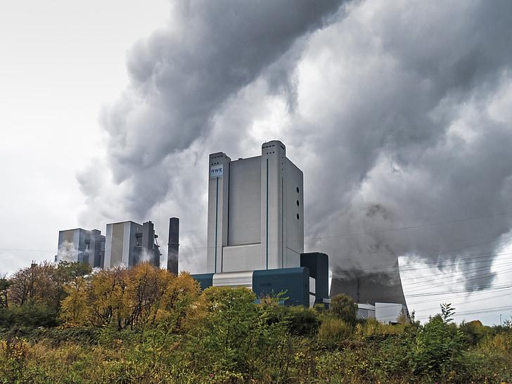 elektrijaama, kivisöel töötavate elektrijaama, pilved, veeauru, jahutuse torni, tehnoloogia, elektrienergia