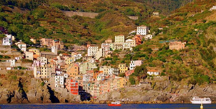 hiše, barve, morje, gorskih, Riomaggiore, Ligurija, Italija