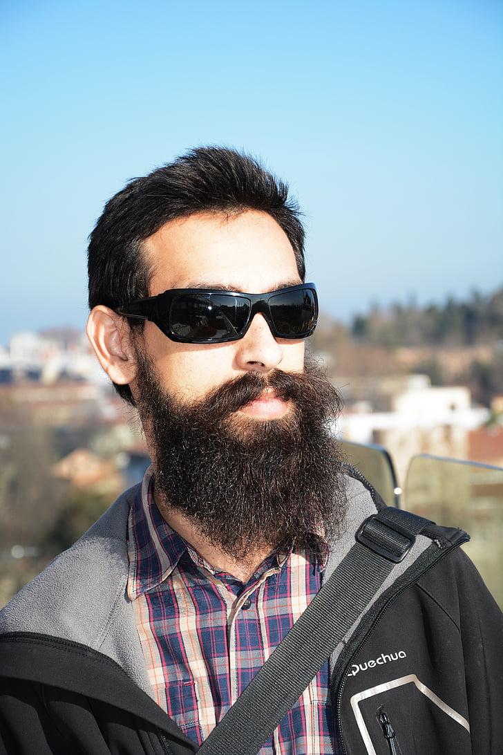 male, beard, young, portrait, sunglasses, long beard