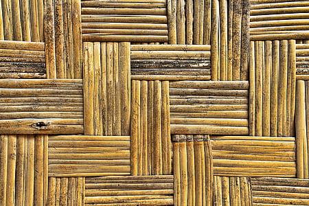 bambus, bambus mat, mønster, tekstur, væv, brun, fletning