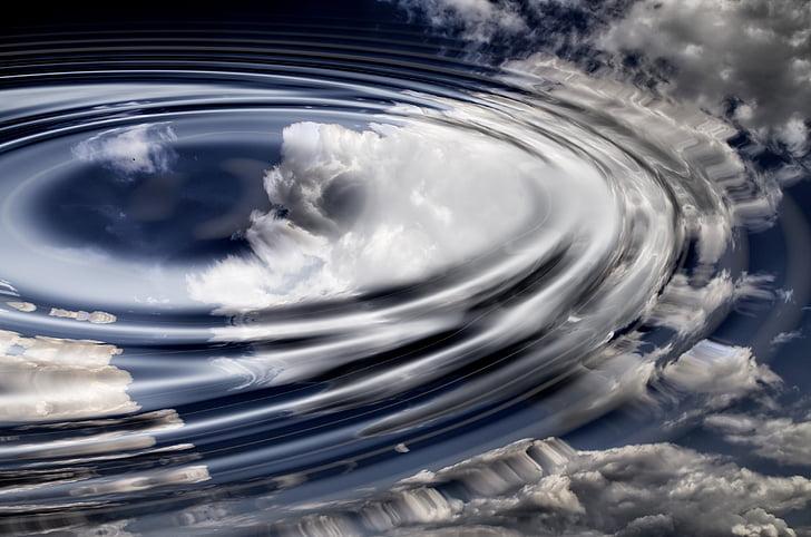 núvols, ona, l'aigua, anells, cercle, cercles de les ones, reflexió