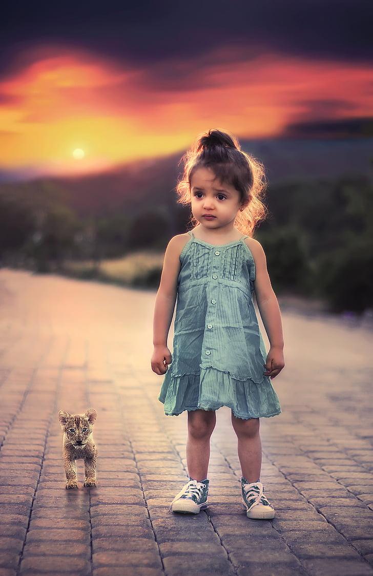 dítě, Děvče, malý, portrét, mladý