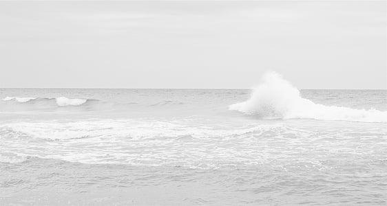 blanc, Mar, ones, l'aigua, oceà, blanc i negre, energia a la natura
