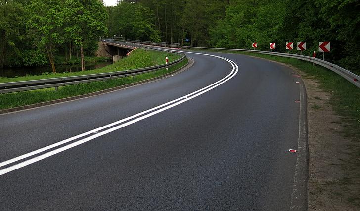 sätt, Böj, polska road, resor, skogen, landskap, turism