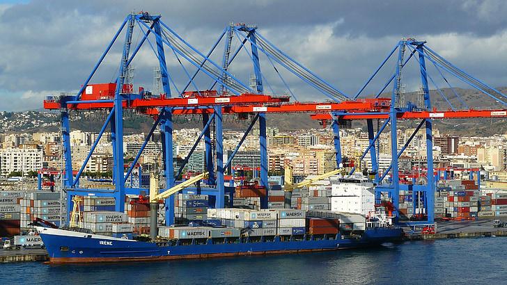 集装箱码头, 端口, 海岸, 建筑, 小船, 起重机, 起重机