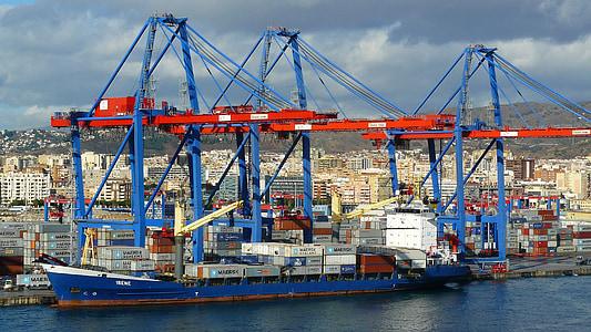 containerhamn, hamn, kusten, arkitektur, båtar, Crane, tranor