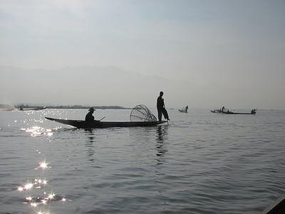 fisherman, boat, lake, burma
