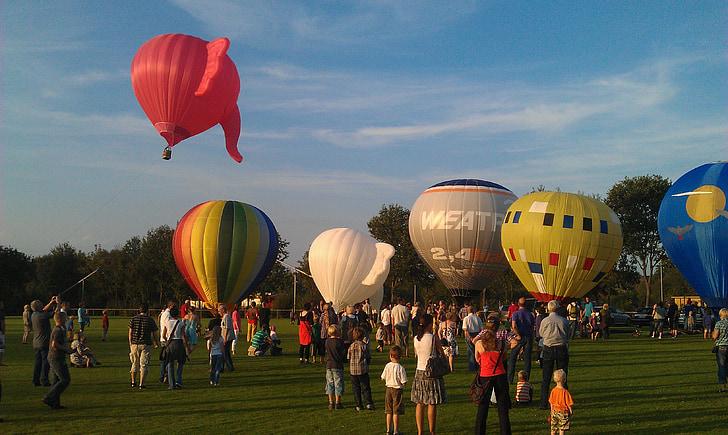 globus aerostàtic, globus, colors, Inici, fase d'inici, enlairar-se, Festival
