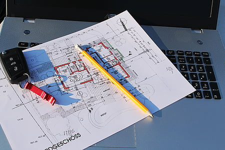 building plan, laptop, visit, site, plan