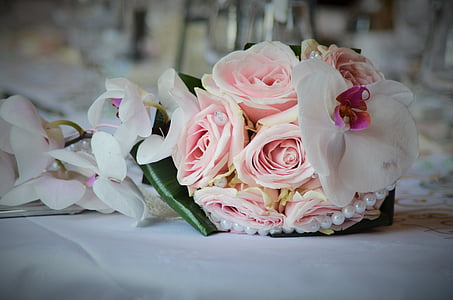 bouquet wedding, wedding, pink, wedding photo, flowers, white, commitment