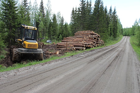 forest, road, log, forest machine, dirt road