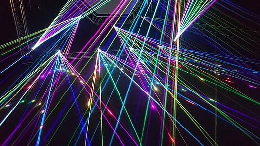 Lightshow, laser, festival di musica, spettacolo di laser, musica, DJ, connessione
