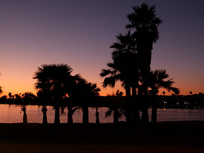 san diego, sunset, palms, water, pacific, usa, california