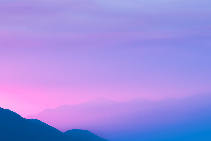 fotografia, colinas, céu, montanha, nuvens, pôr do sol, nascer do sol