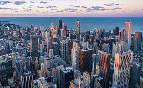 architecture, buildings, city, cityscape, dawn, downtown, dusk