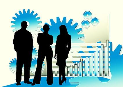 empresaris, Gerent, Oficina, treball en equip, esperit d'equip, engranatges, xarxa