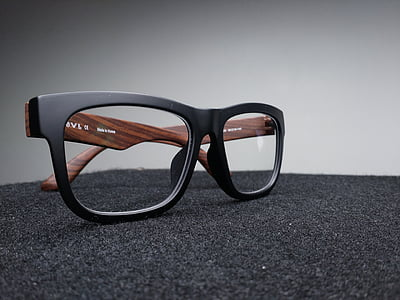 nero, marrone, con cornice, Wayfarer, stile, occhiali da vista, tessile