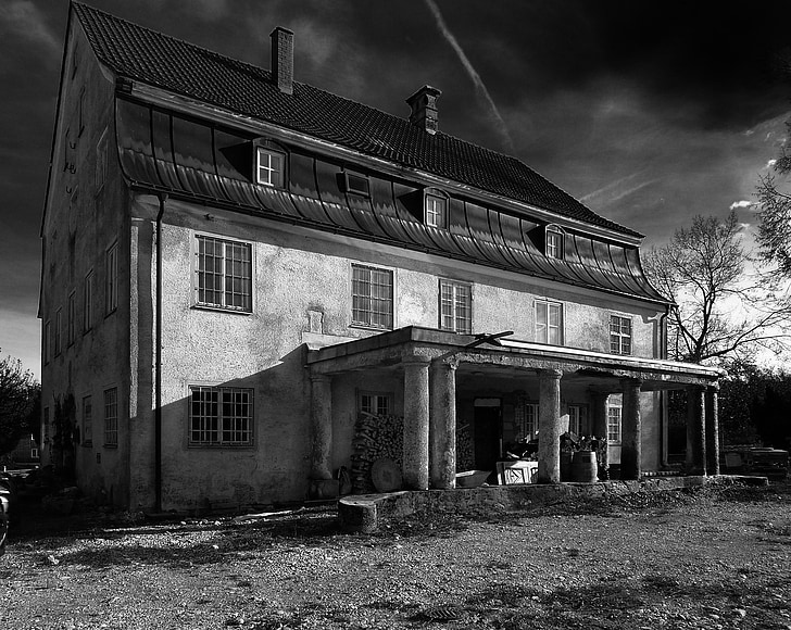 germany, house, home, sky, clouds, black and white, architecture
