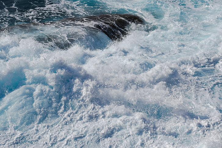 zátony, sekély, forgatag, hullámok, Viharos tenger, hab, spray