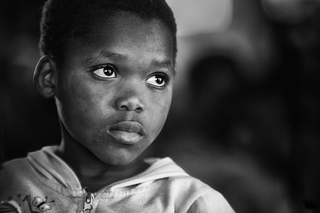 orphan, africa, african, child, portrait, black and white, poor