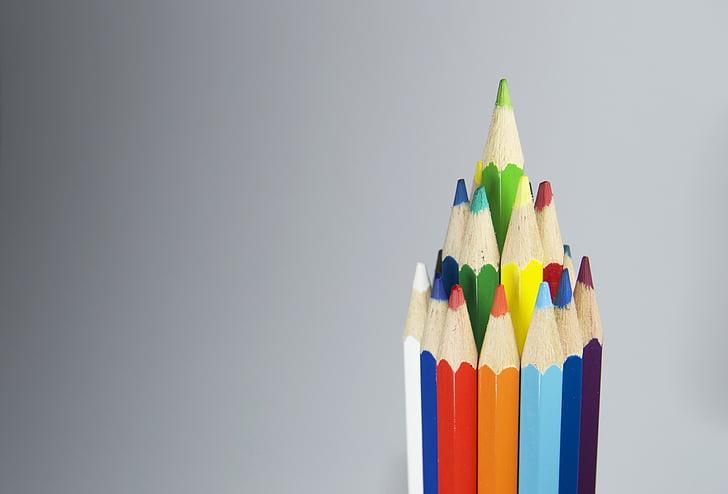 konst, färgglada, färger, färgglada, färger, kritor, kreativitet