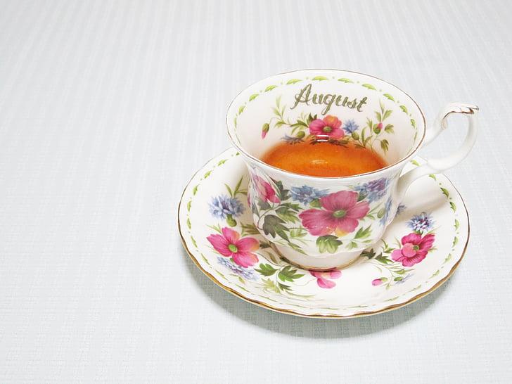 čaj vrijeme, kup, kolovoza, piće