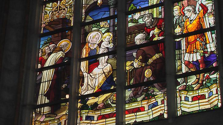 taca, vidre, finestra, vidrieres, l'església, vitralls i vidrieres, cristianisme