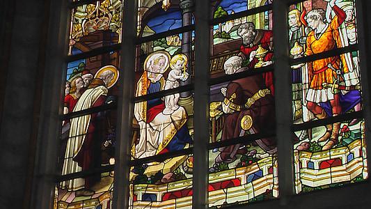 pata, sticlă, fereastra, vitralii, Biserica, vitralii, creştinism