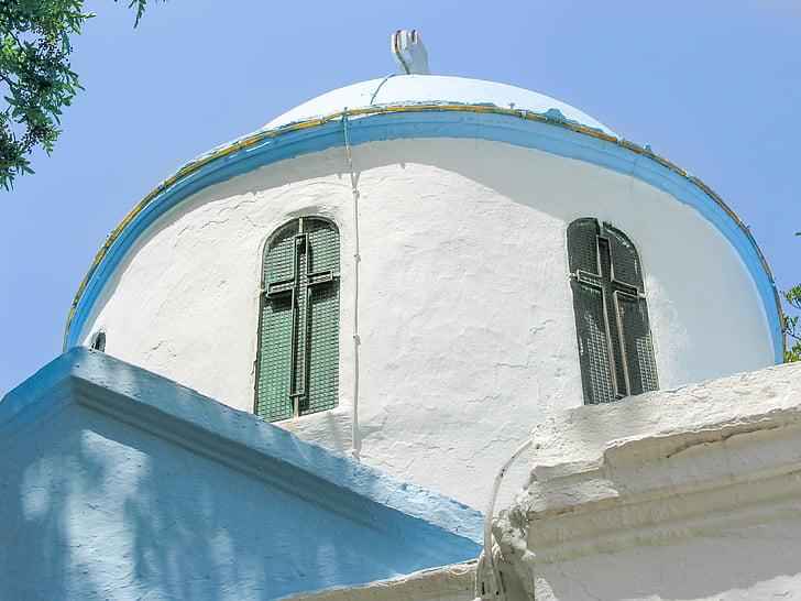 kos, greek island, little church, cross, blue sky, window, architecture
