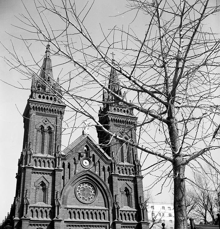 church, black and white, retro