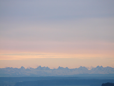 panorama, alpine, morgenstimmung, sunrise, mountains, hazy, relief